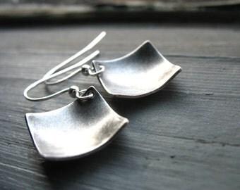 Silver Earrings, Diamond Silver Dome Earrings, Handmade Silver Dangle Drop Metalwork Earrings