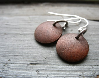 Wood Earrings, Maple Wood Earrings, Dark Brown Maple Wood Earrings, Handmade Wood Jewelry