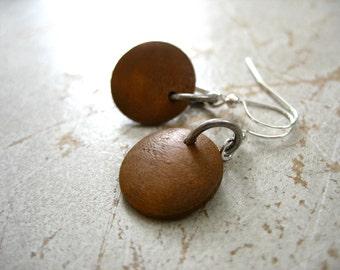 Wood Earrings, Maple Wood Earrings, Chocolate Brown Maple Wood Earrings, Handmade Wood Jewelry