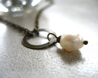 Pearl Necklace, White Freshwater Pearl Infinity Hoop Pendant Chain Necklace, Handmade Necklace, Handmade Pearl Necklace