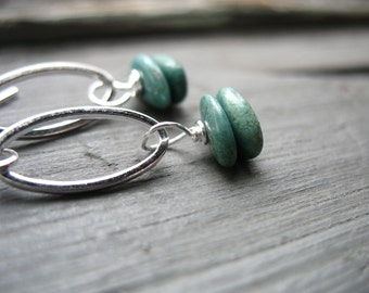 Turquoise Earrings, Turquoise Silver Hoop Dangle Drop Earrings, Handmade Metalwork Stone Earrings