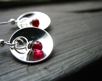 Garnet Earrings, Metalwork Earrings, Garnet Gemstone,  Hammered Silver Dome, Handmade Earrings