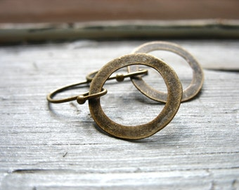 Brass Hoop Earrings, Handmade Artisan Metalwork Hoop Earrings Jewelry, Drop Earrings, Dangle Earrings, Hoop Earrings