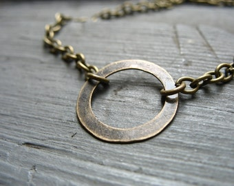 Hoop Necklace, Infinity Antiqued Brass Hoop Chain Necklace, handmade metalwork necklace