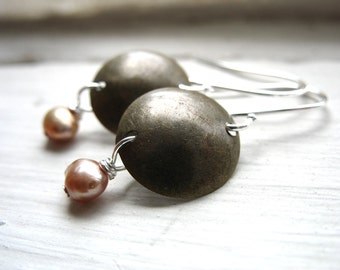 Pearl Earrings, Metalwork Earrings, Peach Pearl Dangle Drop Earrings, Handmade Earrings, Pearl Earrings
