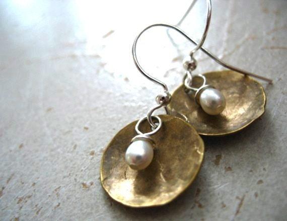 Pearl Earrings, Freshwater Pearl Dome Dangle Drop Earrings, Metalwork White Pearl Earrings, Pearl Jewelry, White Pearl Earrings