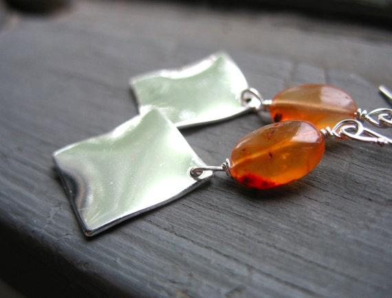 Carnelian Earrings, Orange Carnelian Stone Silver Diamond Metalwork Handmade Dangle Drop Earrings Jewelry, FREE Shipping