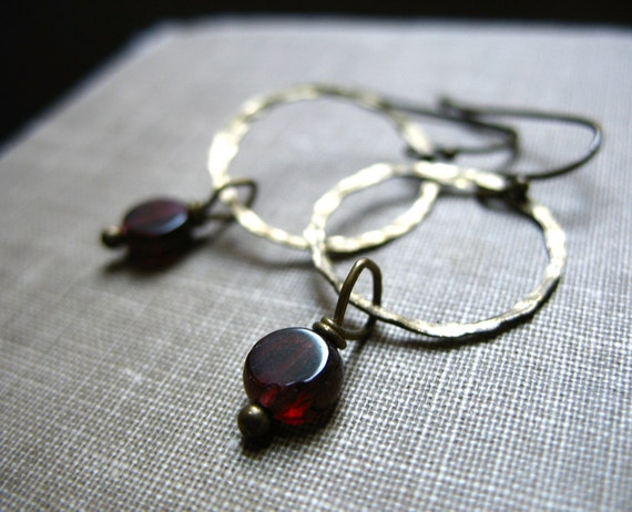 Garnet Earrings, Garnet Stone Hoop Earrings, Handmade Artisan Metalwork Garnet Jewelry Earrings