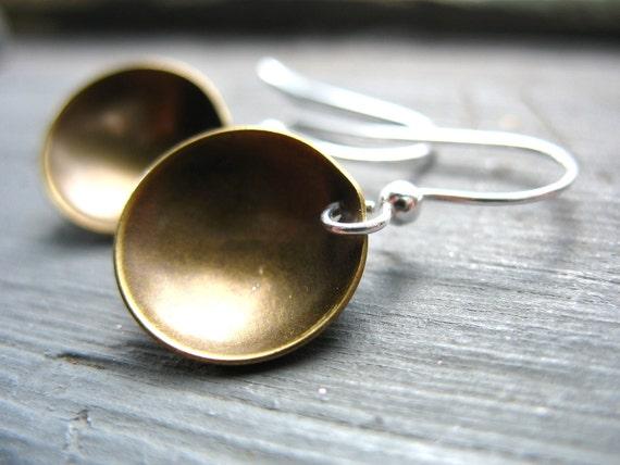 Brass Dome Earrings, Metalwork Dome earrings, Handmade Artisan Industrial Jewelry