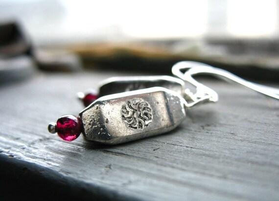 Garnet Earrings, Handmade Garnet Stone Silver Dangle Drop Earrings, Artisan Garnet Jewelry, Garnet, FREE Shipping