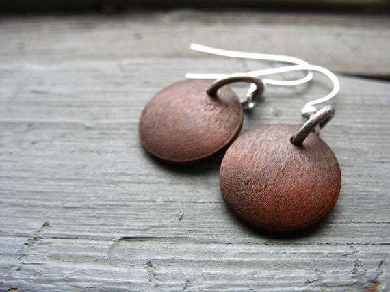 Wood Earrings, Maple Wood Earrings, Dark Brown Maple Wood Earrings, Handmade Wood Jewelry, FREE Shipping