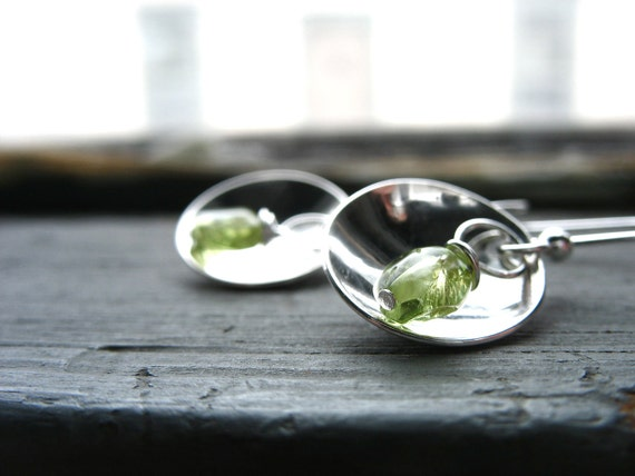 Peridot Earrings, Metalwork Peridot Hammered Silver Dome Dangle Drop Handmade Earrings, Handmade Earrings