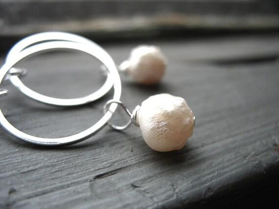 Pearl earrings, White Pearl Silver Hoop Earrings, Handmade Pearl Dangle Drop Earrings, Metalwork Pearl Jewelry