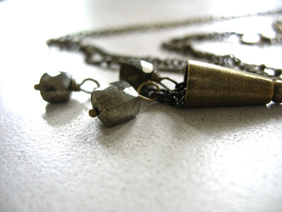 Pyrite Necklace, Pyrite Fools Gold Stone Brass Bell Statement Chain Necklace, Handmade Artisan Stone Jewelry, FREE Shipping