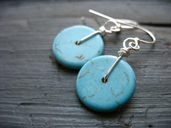 Turquoise Earrings, Handmade Turquoise Disk Stone Earrings, Handmade Earrings, Stone Earrings