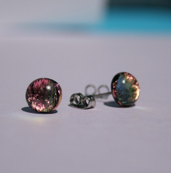 Petite Pink and Peach Fused Dichroic Glass Earrings