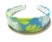 CUTE COVERED HEADBAND made with TEAL TURQUOISE LIME GREEN FLOWER FABRIC