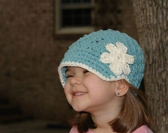 Beanie Hat with Visor Pattern