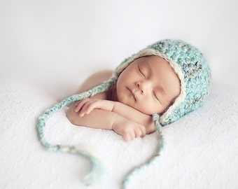Newborn baby hat with earflaps photography prop