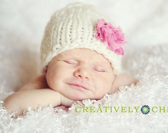 Knit Newborn Hat with Pink Flower Baby Girl Photography Prop