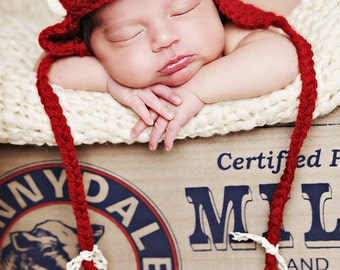 newborn baby girl aviator hat in red with lace - Photography Prop