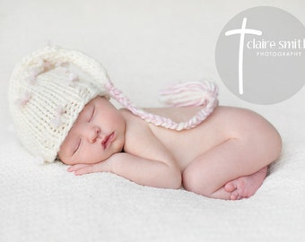 Knit Newborn Baby Girl White Pixie Elf Hat with and Pink