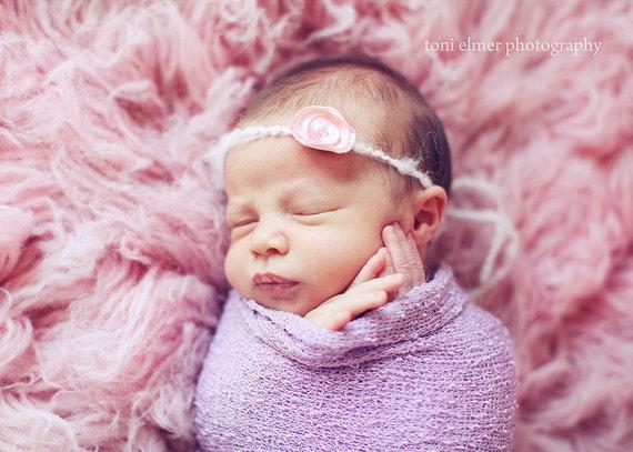 Newborn Baby Girl Pink Flower Halo Headband Photography Prop
