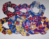 Basketball Patchwork Fabric Hair Scrunchie Scrunchies by Sherry Lakers Piston Mavericks Bulls Heat Pacers Kings NBA