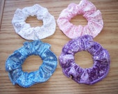 4 Pink Blue White Purple Velour Fabric Sparkle Hair Scrunchies by Sherry Ponytail Holders Ties
