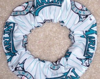 Florida Marlins Hair Scrunchie Scrunchies by Sherry White Cotton Fabric MLB Baseball