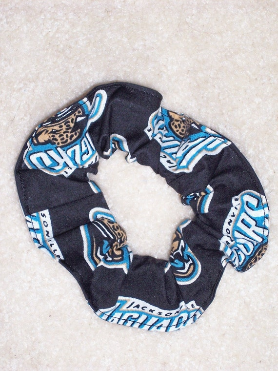 2 Jacksonville Jaguars Hair Scrunchies by Sherry NFL Football Black Fabric Ponytail Holders Ties
