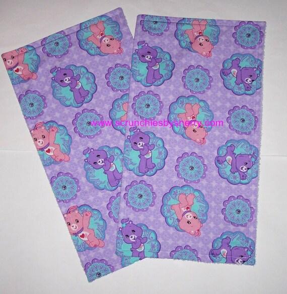 2 Purple Care Bears Terrycloth Baby Girl Burp Cloths Great