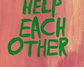 Original WORD ART Painting - Nayarts - Help Each Other
