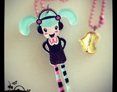 Acrylic Plexiglass necklace printed laser cut ''MUSIC GIRL'' Kawaii