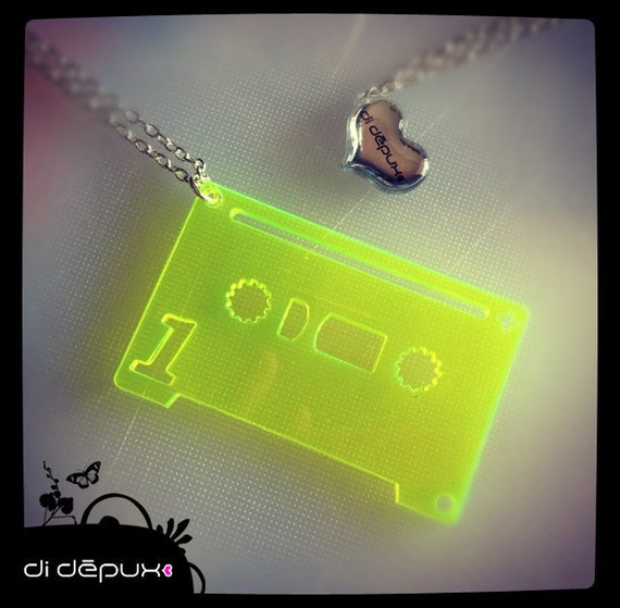 Neon tape cassette acrylic laser cut from 9 euro