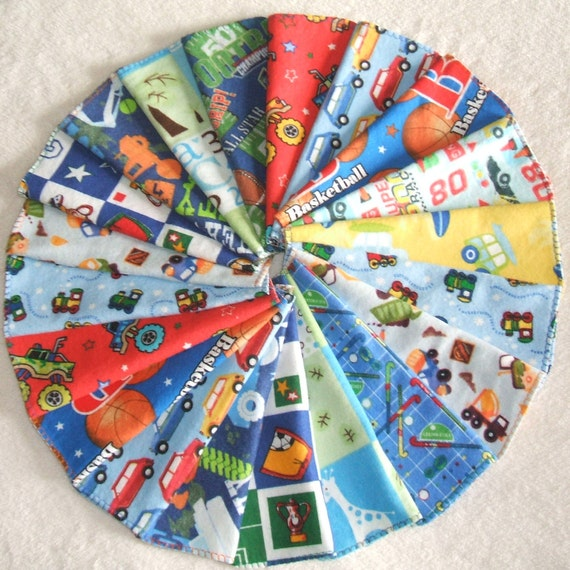 BLACK FRIDAY SALE Baby Wipes Set of 20 2-layer Basic Cloth diaper wipes Assorted Boy Prints