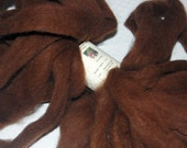 Baby Alpaca Roving Fiber for Spinning, Felting and doll Hair in a luscious dark brown from Chico 1 oz.