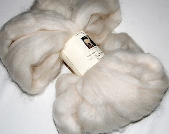Alpaca Roving, Alpaca Fiber, Wool doll hair, Yarn, Spinning Fiber, Felting Wool, White, 4 oz.