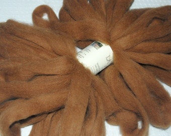 Alpaca Roving, Spinning Fiber, Felting Fiber and Doll Hair in a luscious dark fawn brown from Mojito 1 oz.