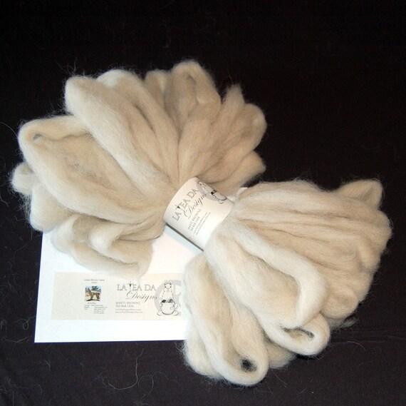 Natural Cream Llama Roving Yarn from our Llama Arturo for Spinning and Felting 8 oz.