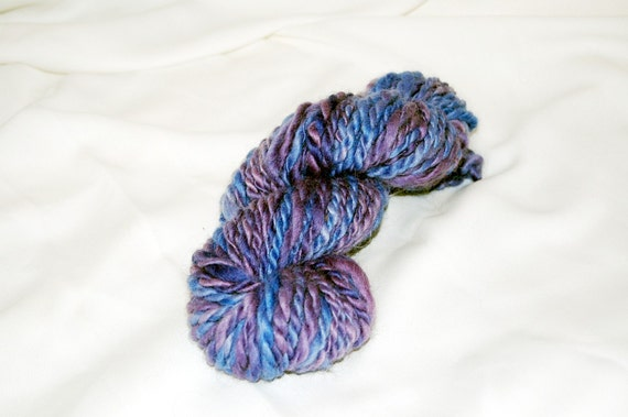Bulky Yarn - Yarn Sale - Hand Spun Yarn, Hand Dyed, Merino Wool, Lavender and Blue - 2 Ply Yarn , Doll Hair 4 Oz. 40.4 Yards
