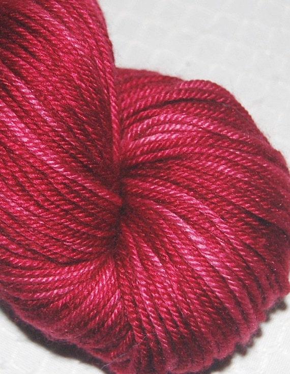 Valentine - DK Weight Super Wash 50/50 Merino/Silk 4 Ply, Sock Yarn Skein Hand Dyed in Variegated Vermillion - SALE  231 Yards