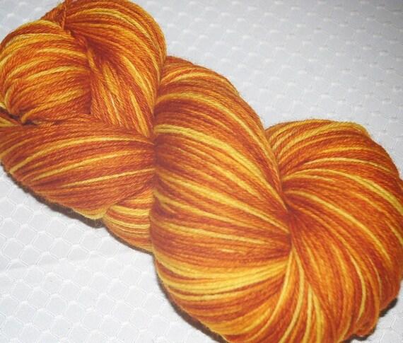 Fingering Weight Yarn, Hand Dyed Yarn, Merino Wool in Aold Ochre, Aztec Gold and Pumpkin - Sock Yarn - SALE Yarn 3.9 oz. 437 yds.utumn G
