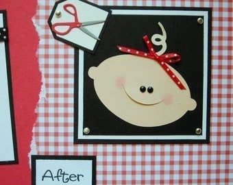 12x12 Premade Scrapbook Pages Layout -- BABY'S FIRST HAIRCUT -- boy or girl - perfect addition to baby's first 1st year album, 1st hair cut