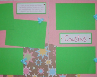 12x12 Premade Scrapbook Pages - COUSINS layout - girl, celebrate cousins, childhood friends, family