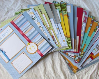 20 BABY BOY premade Scrapbook Pages for 12x12 FiRsT YeAr ALbUm -- bold-n-bright WiLd THiNGs--