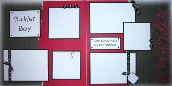 BUILDER BOY lego 12x12 Premade Scrapbook Pages  -- SALE