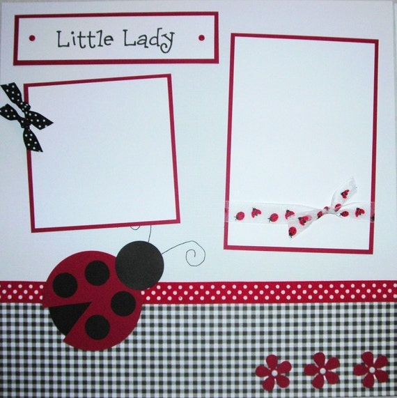 LITTLE LADY 12x12 Premade Scrapbook Pages LaDyBuG