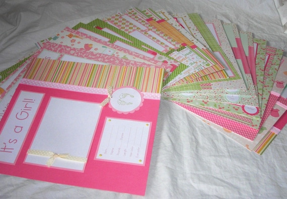 20 BABY GIRL Scrapbook Pages for 12x12 FiRsT YeAr ALbUm --pretty in pink--