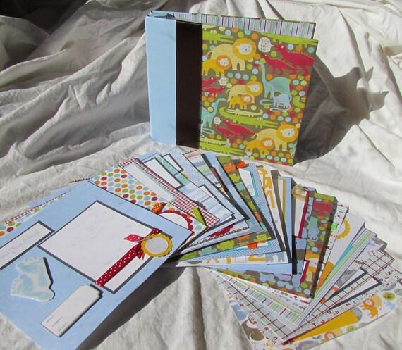 first year BABY BOY 8x8 premade scrapbook ALbUm